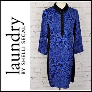 LAUNDRY BY SHELLI SEGAL Cobalt & Black Shirt Dress